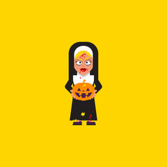 Bloody nun with pumpkin character for halloween in a flat style