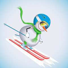 Snowman on skis rides down the hill. Winter fun. Vector illustration.