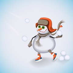 Snowman passionate about playing snowballs. Winter fun. Vector illustration.