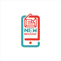 New message icon on smartphone screen vector illustration.