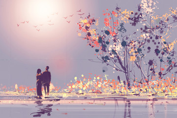 Digital painting style Oil couples stood watching sunsets. The natural beauty