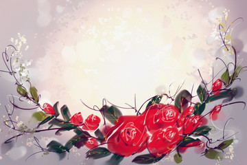 Digital Painting the Roses Red Order a bouquet Reframe
