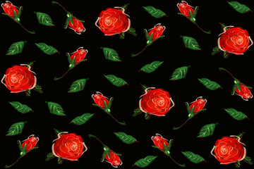 Digital Painting pattern red rose. black background