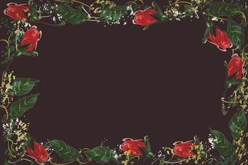 Digital Painting pattern red rose. black background