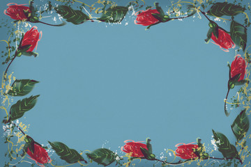 Digital Painting pattern red rose. Blue background