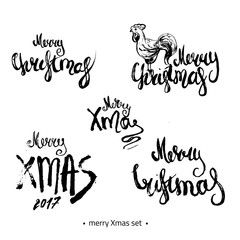 Modern hand drawn Merry Christmas 2017 lettering set with sketch rooster. Can be used for print design, fashion, banners and t-shirts.