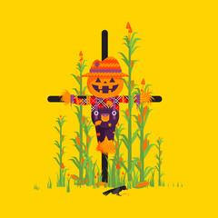 Scarecrow for halloween in a flat style