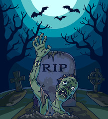 Halloween vector illustration with spooky zombie dead man