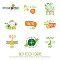Vegan cafe logo elements on white background. Vegetarian menu. Veggie food restaurant labels. Can be used for signboards and banner designs, site headers.
