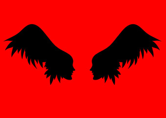 vector angel wings. two profiles of individuals with wing - hair