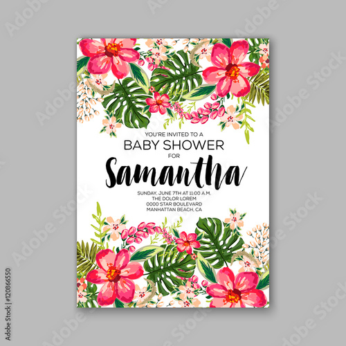 Baby Shower Invitation Template With Watercolor Tropical Flower