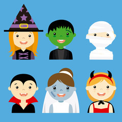 avatar collection of happy children dressed as halloween