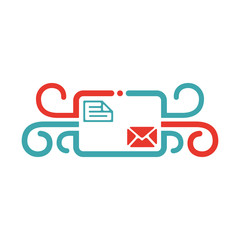 Vector illustration of mail arrow icon.