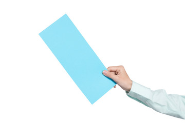 hand holding blank airline boarding pass ticket isolated over wh