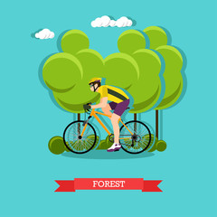 Cycling in the forest, flat design