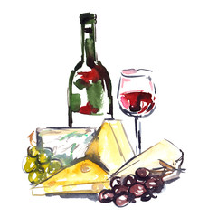 Red wine with cheese and grapes painted in watercolor on clean white background
