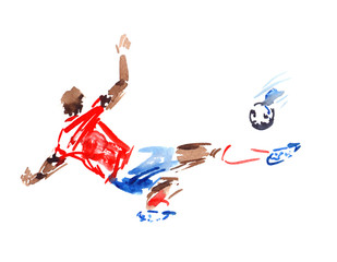 Player in red shirt and blue shorts kicking the ball in motion, painted in watercolor on clean white background