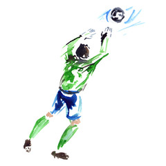 Goalkeeper in green shirt and blue shorts catching the ball, painted in watercolor on clean white background