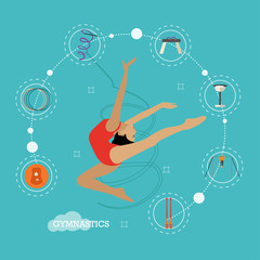 Concept illustration of rhythmic and artistic gymnastics, flat design