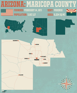 Large and detailed map and infographic of Maricopa County in Arizona.