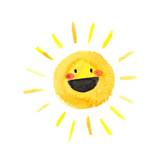 Little happy smiling cartoon sun painted in watercolor on clean white background