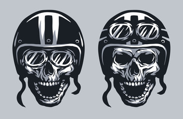 Skull biker in helmet and glasses.