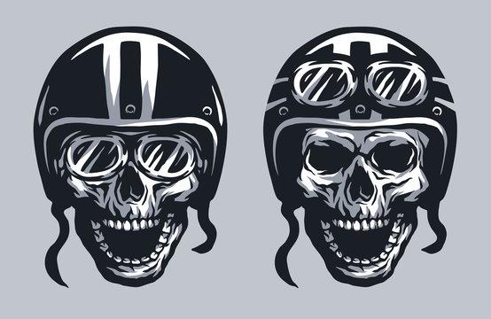 Skull biker in helmet and glasses.