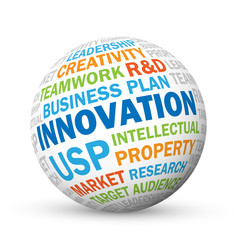 INNOVATION vector tag cloud sphere