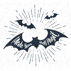 Aluminium Prints Halloween Hand drawn Halloween label with textured bats vector illustration and