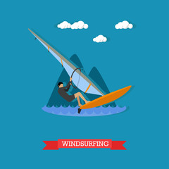 Windsurfer on the board with sail, flat design