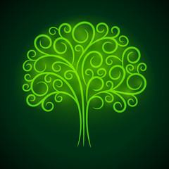 Abstract vignette green glowing tree. Vector creative concept.