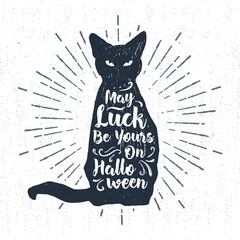 Aluminium Prints Halloween Hand drawn Halloween label with textured black cat vector illustration and