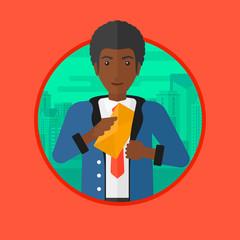 Man putting envelope in pocket vector illustration