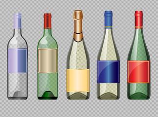 Vector set of colored transparent glass alcohol bottle with caps for wine mockup ready for your design