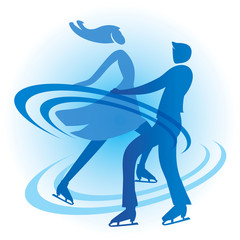 Ice Skating Skaters couple. Stylized Silhouette of a couple of ice skating skaters. Vector available.