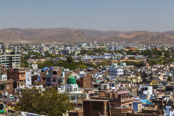 Buildings and Machla Hills in Udaipur
