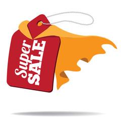 Super sale cartoon sale tag wearing cape. EPS 10 vector