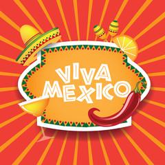 Viva Mexico burst with sombrero chili margarita. EPS 10 vector.