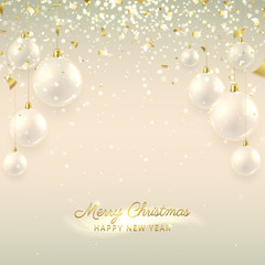 Elegant Christmas banner with glass balls. Beautiful vector illustration with a congratulation. Happy New Year background with golden confetti and shining lights.