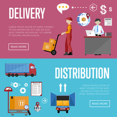 Logistics process services banners set of distribution, transportation and delivery isolated vector illustration. Warehouse management concept. Flate design style.