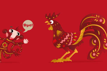 The Chinese New Years of the Rooster, Monkey goes, Rooster comes.