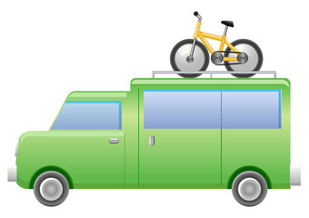 Sports van with bicycle on top vector icon