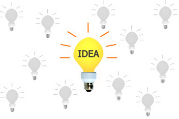 Big Idea Light bulb outstanding other light bulbs isolated on white background. Business concept.