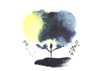 black and yellow watercolor tree