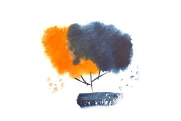 black and orange watercolor tree