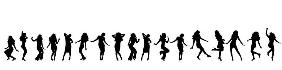 Vector silhouette of girls.