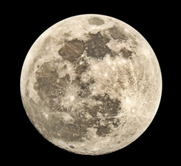 Full moon on a black background, the real shooting through a telescope, possible zones of the field out of focus