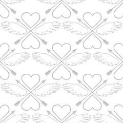Black and white seamless pattern. Retro design element for t-shirt or wrapping design. Vintage style, hand drawn pen and ink