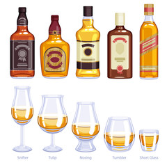 Whisky bottles and glasses icons set.