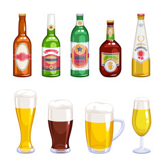Beer bottles and mugs icons set.